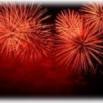 お台場レインボー花火大会 自由の女神像沖であがる冬の花火